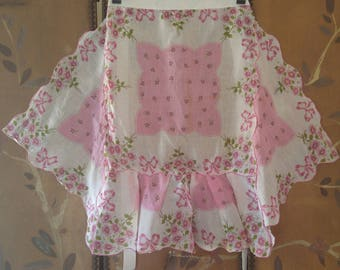 60s pink flower and ribbon print petal cut hem apron