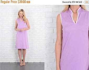 Sale Vintage 70s Purple Shift Dress Mod V neck Sleeveless Knee length M 10041
