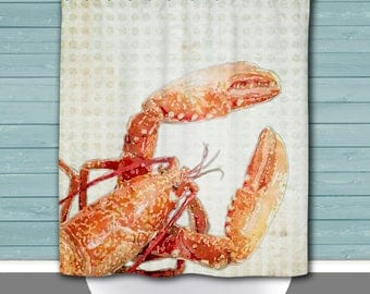 Lobster Shower Curtain: Beach House Chic Nautical Inspired | 12 Eyelet/Button Hole | Size and Pricing via Dropdown