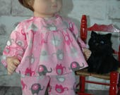 American, made, doll, flannel, pajamas, nightgown, bitty, twin, 15 inch doll
