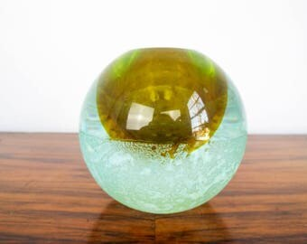 Vintage Green Art Glass Green Paperweight Blown Candle Holder Oil Scent Burner