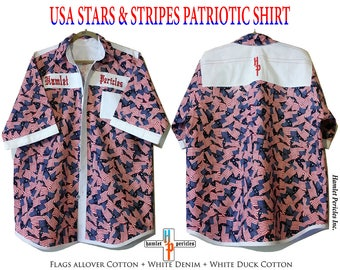 USA Patriotic Shirt | Stars and Stripes | Red White Blue | XXL Men's Shirt | US Flag Collage | Button-up Shirt by Hamlet Pericles | S52911