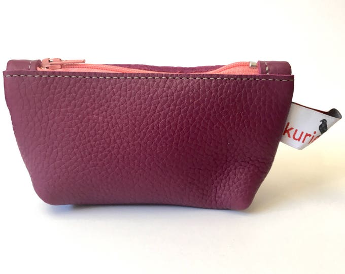 Fuchia pink leather change purse
