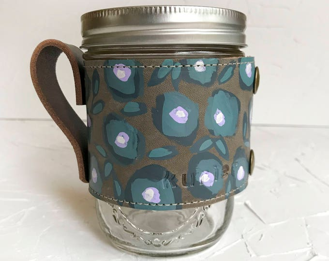OOAK Hand painted leather Camp Mug #1