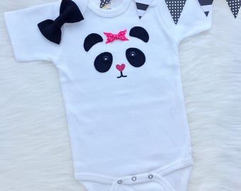 Baby girl panda onesie, hand sewn appliqué- personalize with your baby's name!