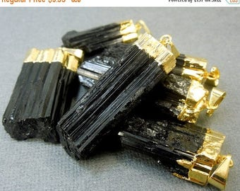 15% off Christmas in July Black Tourmaline Pendant - Raw Black Tourmaline Stone Rod with Gold Electroplated Cap (S24B14-01)