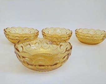 4 Vintage Amber Yellow Bartlett Collins Manhattan Berry Bowls