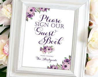 Please Sign Our Guestbook   8 x 10   DIY Printable   Vintage   Eggplant   Purple Blooms   PDF and JPG files   Instant Download
