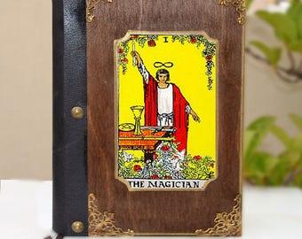 Original artwork,leather book, poetry book, tarot card, tarot art, fortune teller, illustration journal, tarot print,Magician Journal