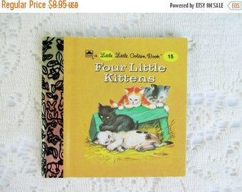 30% OFF, Summer SALE Four Little Kittens, Original Little Little Golden Book, 1990s Miniature Classics 24 Pages-New Old Stock Unused