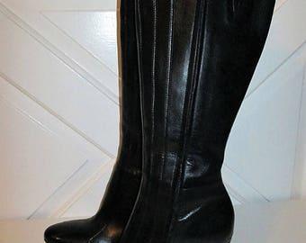 20% Summer SALE Vintage Black Leather Antonio Melani Boots Size 8