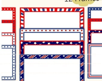 4th of July, digital frame clip art, Party decor, card supplies