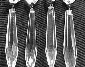 Set of Four Vintage Long Chandelier Crystals with Octagonal Prisms