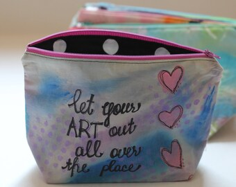 Hand Painted Zipper Pouch.  Let Your Art Out.