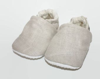 creme linen soft sole baby shoes tan baby booties classic linen baby shoes Christining baby shoes baptism vegan baby shoes indoor shoes