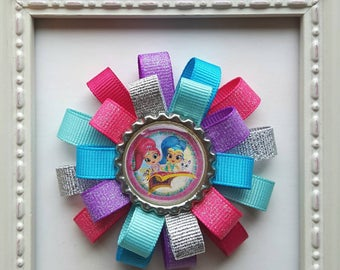 Shimmer & Shine Loopy Hair Bow - Pink, Purple, Turquoise Blue and Silver - Shimmer and Shine Birthday Party