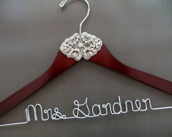 RHINESTONE Wedding Dress Hanger, Crystal Bride Hanger, Mrs Hanger, Last Name Hanger, Custom Bridal Hanger, Bride Gift, Shower Gift