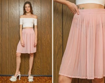 Vintage 90s 00s Preppy Girly Sheer Pleated Peasant Light Pink Rose Pastel Above the Knee Length A Line Circle Skirt XS S 24 25