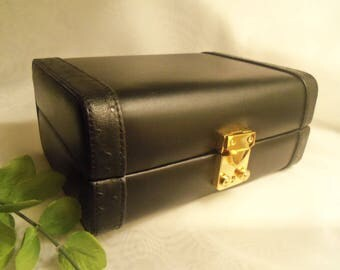 Almost Perfect Men's Vintage NEVER USED Black LEATHER Locking Jewelry Travel Case Box w/ Lock & Key- Birthday Gift Him Dad Father Teen Men