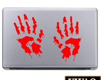 Zombie Hands Decal Zombie Laptop Stickers Peel and Stick Zombie Decor Outbreak Bloody Hands Theme VWAQ-L112