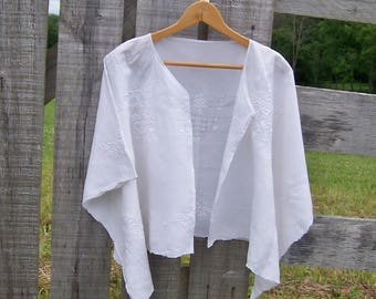 Kimono Beach Cover Up or Bridal Wrap for Women in One Size, Upcycled Lace and Linen Tablecloth in White, Shorter Length