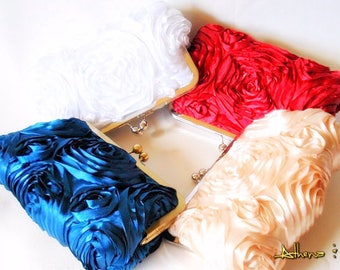 Customize your Romantic  Rosette Wedding Clutch You choose the color Made to Order