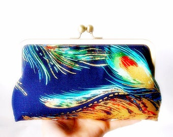 Feather Metallic Gold/Navy Clutch Wedding Clutch Bridesmaid Gift Made to Order