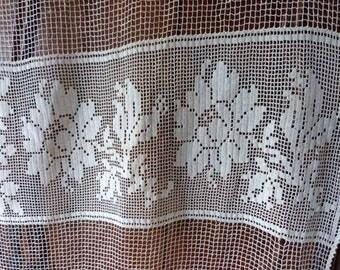 Antique French crocheted filet lace curtain drape LONG handmade window curtain drapery panel ecru linen lace curtain w pompom bobble trim