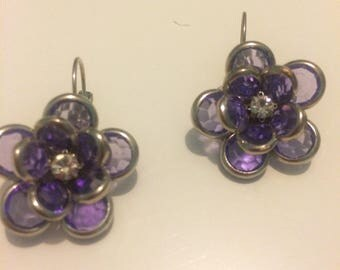 Purple & Silver Vintage Flower Lever Back Earrings