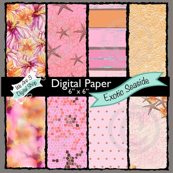 We Are 3 Digital Paper, Exotic Seaside