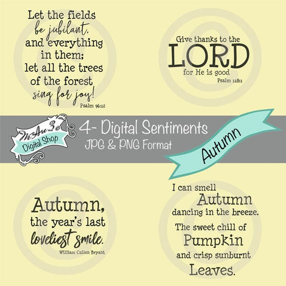 We Are 3 Digital Shop - Autumn Sentiments, Scripture, JPEG, PNG