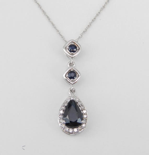 """Sapphire and Diamond Drop Pendant Wedding Necklace White Gold 18"""" Chain September Birthstone"""