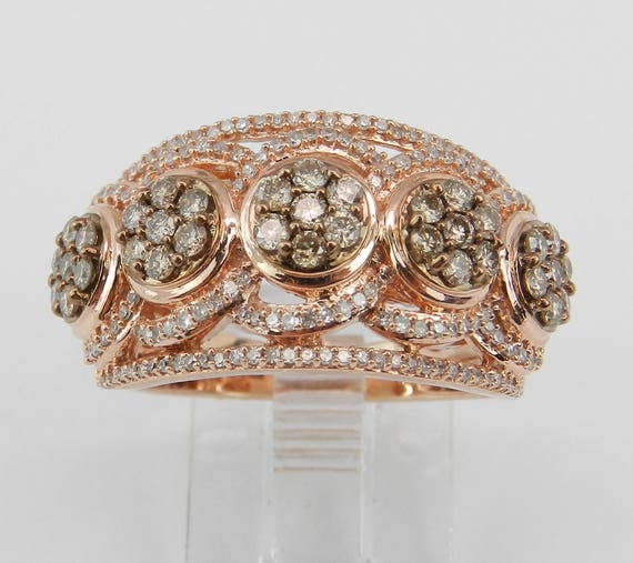 White and Cognac Cluster Diamond Wedding Ring Anniversary Band Rose Gold Size 7
