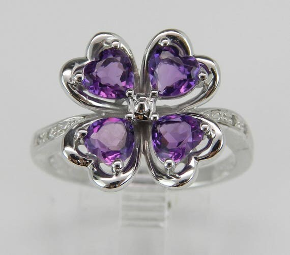 Heart Amethyst in Clover Design with Diamond Cocktail Ring in White Gold Size 8 February Gem