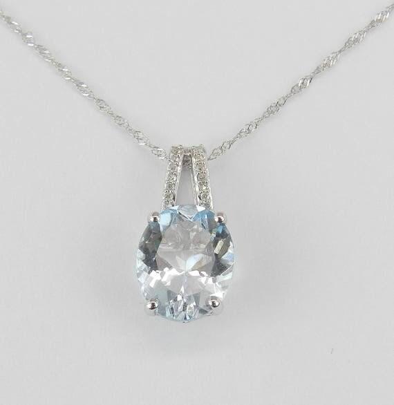 "2.55 ct Diamond and Aquamarine Pendant Necklace 14K White Gold 18"" Chain Aqua March Gemstone"