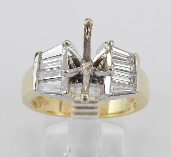 14K White Yellow Gold Diamond Engagement Ring Setting Semi Mount Size 6.25