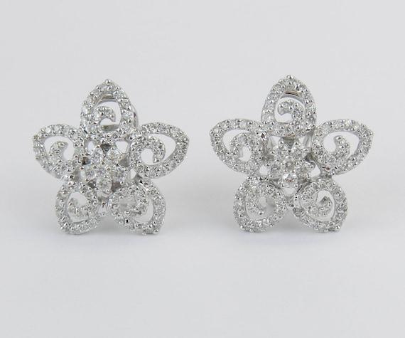 18K White Gold 1.25 ct Diamond Flower Cluster Earrings Omega Clips Wedding Gift