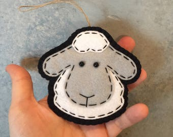 Wool Felt Sheep Head Ornament
