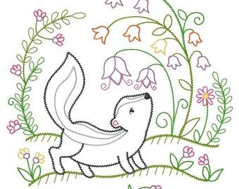 Skunk Smells the Flowers Vintage-Style Design Embroidered on Hand Towel or Tea Towel