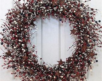 WREATH SALE Large Wreath - Patriotic Door Decor - Americana Wreath - Summer Wreath - Rustic Star Wreath - 4th of July Home Decor - Patriotic