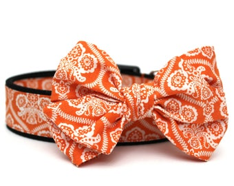 Dog Collar Bow Add-On Halloween Bow for Dogs Matching Dog Bow Dog Collar Damask Dog Bow Girl Dog Bow