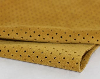 Yellow Mustard Suede, Perforated  Genuine Leather, Cowhide