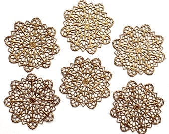 Floral Pinwheel, 6 Piece, Brass Filigree, Beading Filigree, Drilled Flower, Raw Brass, US made, Nickel Free, Bsue Boutiques, 47mm, Item03265