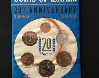 Specimen Set of 6 ISRAEL 20th Anniversary Mint COINS IC2 Jewelry Making Costume Supply Uber Kuchi®