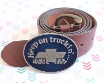 Chevy Keep on Trucking' Belt Buckle, Heavy Metal, 1970s