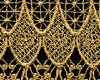 Gold Metallic Venise Lace, 4+3/4 inch wide selling by the yard