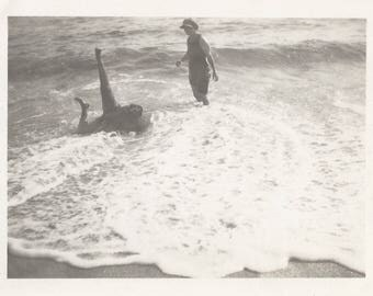 "Vintage Snapshot ""Knocked Over"" Woman Wading In Strong Surf Legs In The Air Martin's Beach Half Moon Bay CA Found Vernacular Photo"