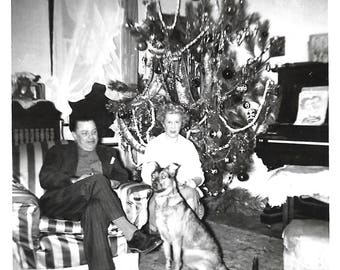 "Vintage Snapshot ""The Love Of His Life"" Man Gazes Fondly At Dog Startled Wife Looks At Camera Merry Christmas Found Vernacular Photo"