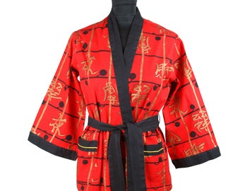 1950s Kimono // Gold Kanji Novelty Print Red Oriental Short Kimono Top Pajamas