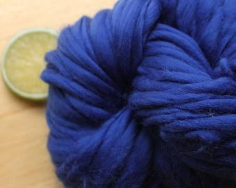 Sapphire - Handspun Wool Yarn Blue Thick and Thin Skein Merino